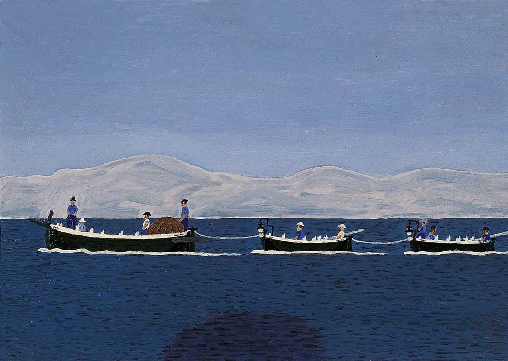 Ribarski-konvoj,-ulje-lesonit,-65x45cm,-1955